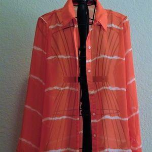 Old Navy Coral Semi Sheer Long Sleeve Blouse Shirt